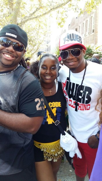 Bajan soca artists Mikey (at left)  and iWeb (at right) with Alison Hinds' personal assistant Jennifer Young.
