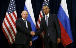America's President Barack Obama shaking hands with Russia's President Vladimir Putin during their meeting at the United Nations General Assembly in New York today.