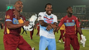 Chris Gayle (centre) heads a number of regional Twenty20 specialists including Dwayne Bravo (left) and Darren Sammy (right) for inaugural Pakistan Twenty20 tournament.