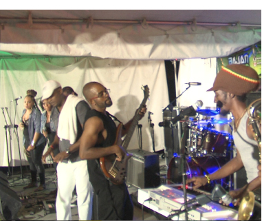 Some of the musicians and back-up singers at the Bajan Green Reggae Roadshow.