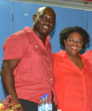 Newly nominated Christ Church East Central candidate, Ryan Straughn (left) with BLP leader Mia Mottley.