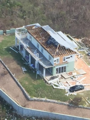 A home in the central portion of Long Island in the Bahamas sustained significant damage from Hurricane Joaquin.