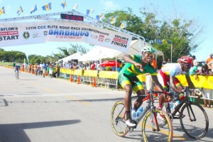 An elated Marloe Rodman of Jamaica celebrates after crossing the finish line of the men's road race ahead  of Luis Sablon of Guadeloupe. (Pictures by Morissa Lindsay)