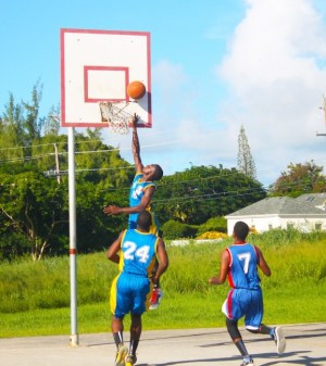 Combermere's Kadeem Brathwaite scoring two more points. (Pictures by Morissa Lindsay)