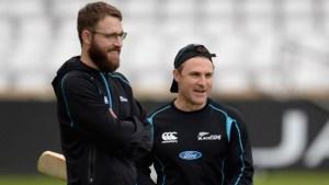 Daniel Vettori (left) and Brendon McCullum.
