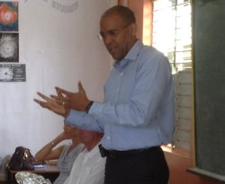 St James Central MP Kerrie Symmonds addressing Welches Primary students.