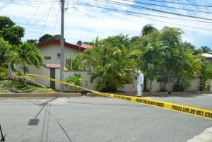 Murder scene where Richard and Grace Wheeler were killed in Carnbee, Tobago, today.