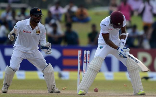 Shai Hope plays on to his stumps to complete a double failure in the Test.