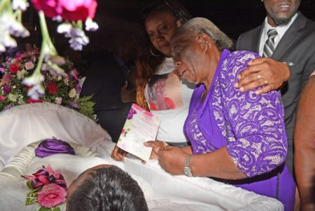 Wavenie's grandmother Marva Johnson is tearful as she says goodbye to her granddaughter