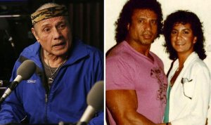 Jimmy Snuka today (left) and with Nancy Argentino in his heyday.