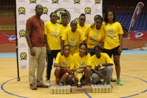 The victorious National Sports Council women sharing the spotlight with the BFA's vice-president, Captain Al Walcott (left).
