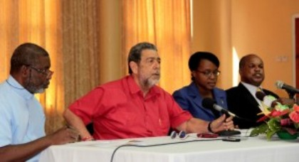 From left: Monsignor Mike Stewart, PM Ralph Gonsalves, Anesia Baptiste, Senator Linton Lewis at the ceremony on Tuesday.