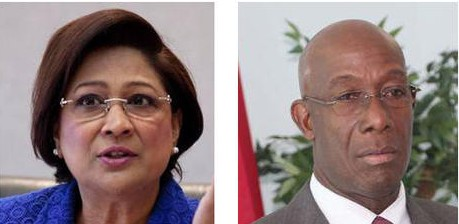 Opposition Leader Kamla Persad-Bissessar (left) and Prime Minister Dr Keith Rowley