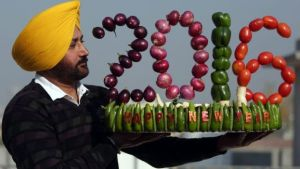 A special New Year artwork in Amritsar, India.