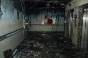Damage is seen at Jazan General Hospital following a pre-dawn fire in the port city of Jazan, Saudi Arabia, today.