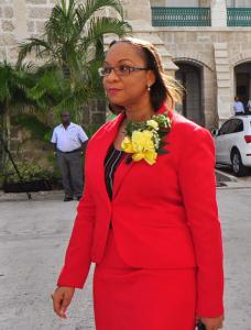 Dr Maria Agard entering Parliament.