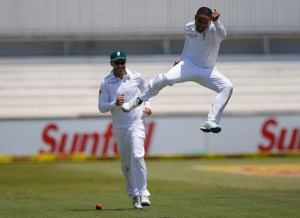 Off-spinner Dane Piedt celebrates the early scalp of England captain Alastair Cook.