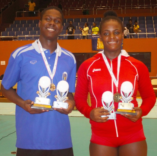 The Most Outstanding Players from the championship from left Ahkeem Mayers of Barbados and Solaida Pierre of Haiti.