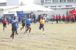 At Bay Primary it was an intense battle to the finish line in the under-13 girls 100m which was won by Xiomara Aymes of Blue House ahead of Kassidy Yarde of Yellow House.