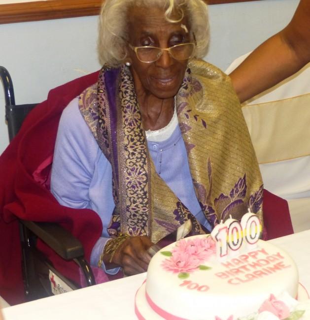 Clarine with her birthday cake.