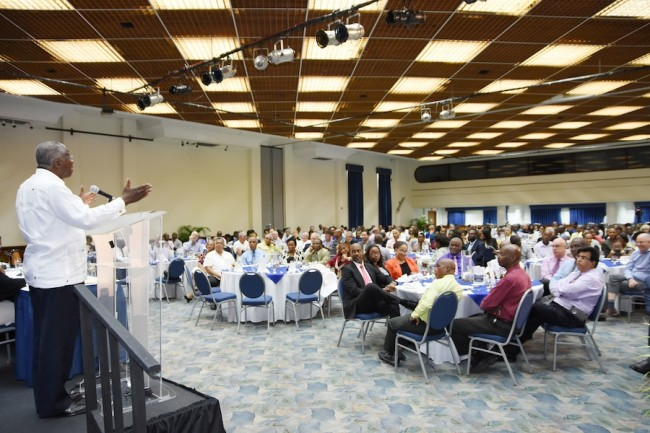 Prime Minister Freundel Stuart addressing the BCCI business luncheon yesterday.