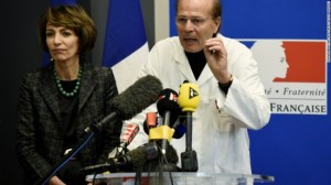 France's Minister of Social Affairs Health Marisol Touraine and Professor Gilles Edan hold a news conference Friday.