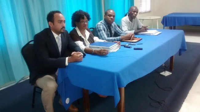 From left NUPW officials Asakore Beckles, Roslind Smith, Akanni McDowall and Wayne Walrond.