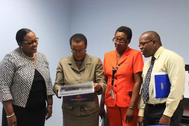 Ministry of Foreign Affairs Permanent Secretary Maxine McClean (second from left) and other members of the  50th Anniversary Co-ordinating Committee, including, from left, Gabrielle Springer, Gail Craig-Archer and Aquinas Clarke.