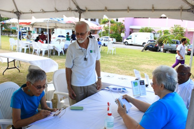 Members of the Natural Energy Centre at yesterday's health fair at the University of the  West Indies, Cave Hill.