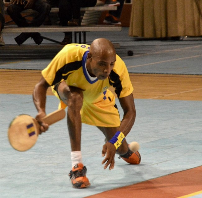 Julian White, playing for St John, was forced to dig deep but was unable to overcome  Kerry Francis.