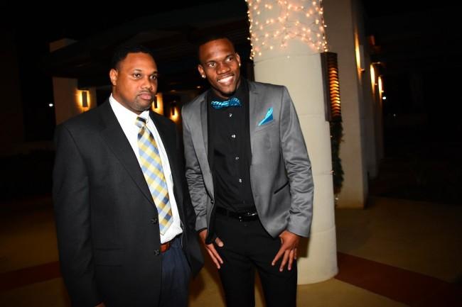 Obadele Thompson (l) and Shane Brathwaite at last night's awards ceremony.