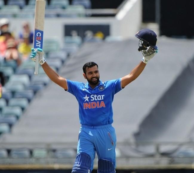 Rohit Sharma celebrating his century.