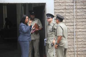 From left, ASP Sharon Cooper, Inspector Voster Yearwood, ASP Yussef Gafar and Senior Superintendent, South, Irwin Hackshaw.