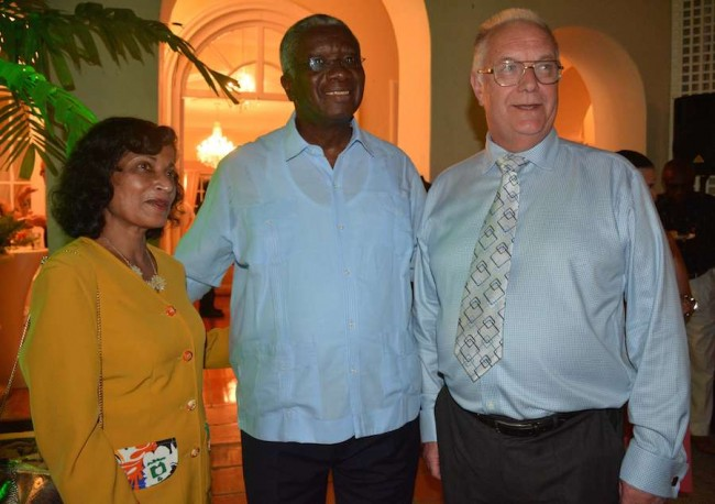 Prime Minister  Freundel Stuart with  a visiting couple.