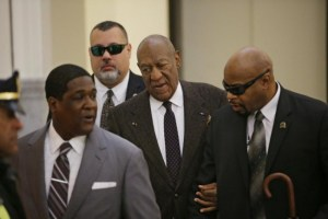 Actor and comedian Bill Cosby arriving for the second day of hearings at the Montgomery County Courthouse in Norristown, Pennsylvania yesterday.