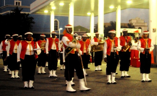 Barbados Defence Force Band in traditional Zouave uniform