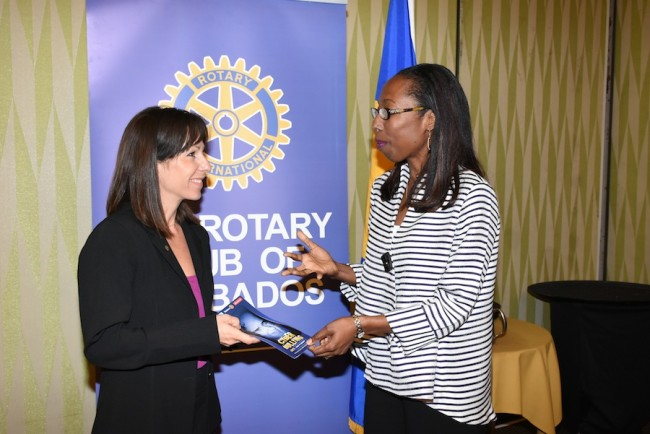 Rotary Club of Barbados community service leader Annie Bertrand, who is leading the club's anti-cyberbullying campaign, chatting with paediatric and adult psychiatrist Dr Shirley Alleyne at the launch of the drive.