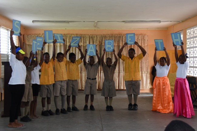 Students delivering a poem about their school, St Elizabeth Primary.