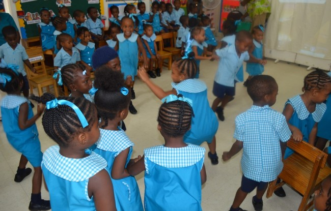The students had a great time dancing around to the African beat.