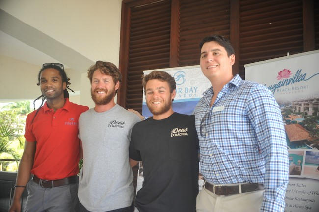 From left, Jamal Griffith, marketing manager of Sugar Bay Barbados; Tempest Two rowers Tommy Caulfield and James Whittle; and director of Sugar Bay Barbados, Morgan Seale.