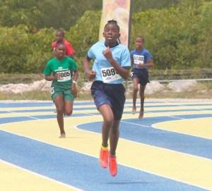 Darielle Taitt of St James Primary won her heat of the under-13 girls 400m.