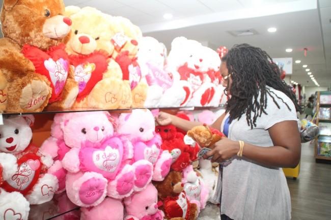 Keisha Carmichael deciding on the perfect teddybear for her loved one.