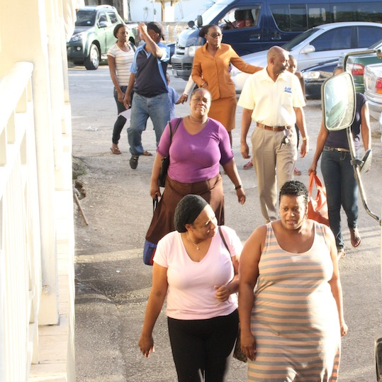 Parents of students attending Lawrence T Gay Memorial School yesterday met with Ministry of Education officials and were upset that no one from the Environmental Health Department was present.