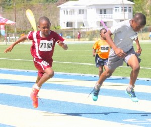 It was a close race to the finish line between under-nine division champion Jonathan Thompson of St Mary's Primary and Javier Norville of St Giles Primary.