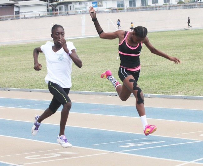 Lynch House captured first and second in the under-13 girls 100m thanks  to Janae  Goodman who edged out Gabrielle Yearwood on the line.