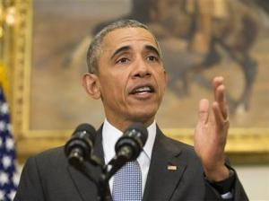 President Barack Obama speaking in the Roosevelt Room of the White House in Washington today.