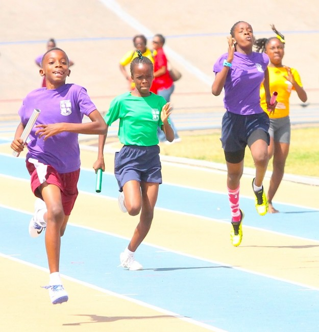 The under-13 mixed relay was dominated by Purple House through Tyrese Gonsalves in the boys and Eboni Browne in the girls.