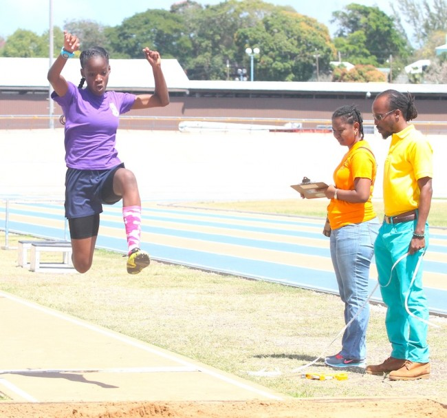 Victrix ludorum Eboni Browne won the under-13 girls long jump for Set F. (Pictures by Morissa Lindsay)