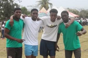 (From left) Najee Holder, Theo Greenidge, Gabriel Moore and Kadeem Brathwaite won the 4x100m Division 1 relay.