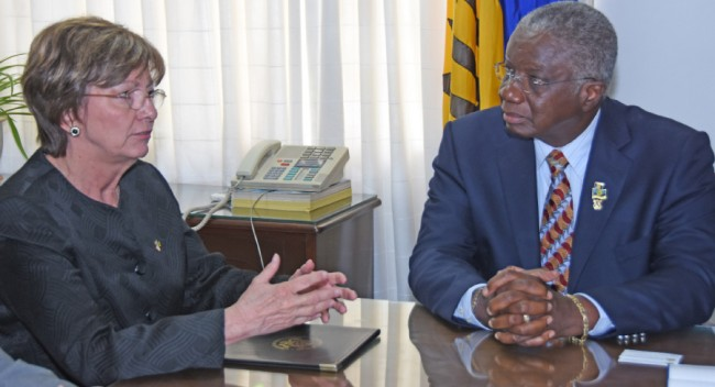 Prime Minister Freundel Stuart (right) welcoming new US Ambassador  to Barbados Linda Taglialatela at Government Headquarters.